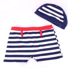 新款夏季时尚条纹男儿童平角泳裤 带泳帽宝宝游泳衣009