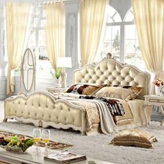 林氏家具 欧式床 实木脚床双人床 1.8米皮艺床美式婚床 品牌KA151