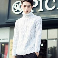 加厚高翻领毛衣男冬装韩版针织衫纯色2015新款男士高领毛衣