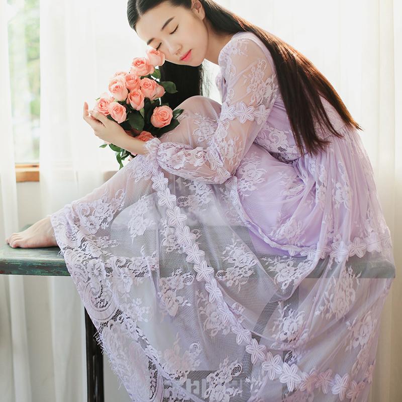 木木家.仙气 蕾丝定要柔软. 紫色高腰长袖透视A字连衣裙女神长裙