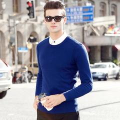 冬季中青年时尚休闲男保暖纯羊毛针织衫修身圆领纯色毛衣