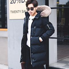 韩国冬欧美时尚大毛领连帽长款面包服棉衣潮男加厚真毛羽绒棉棉服