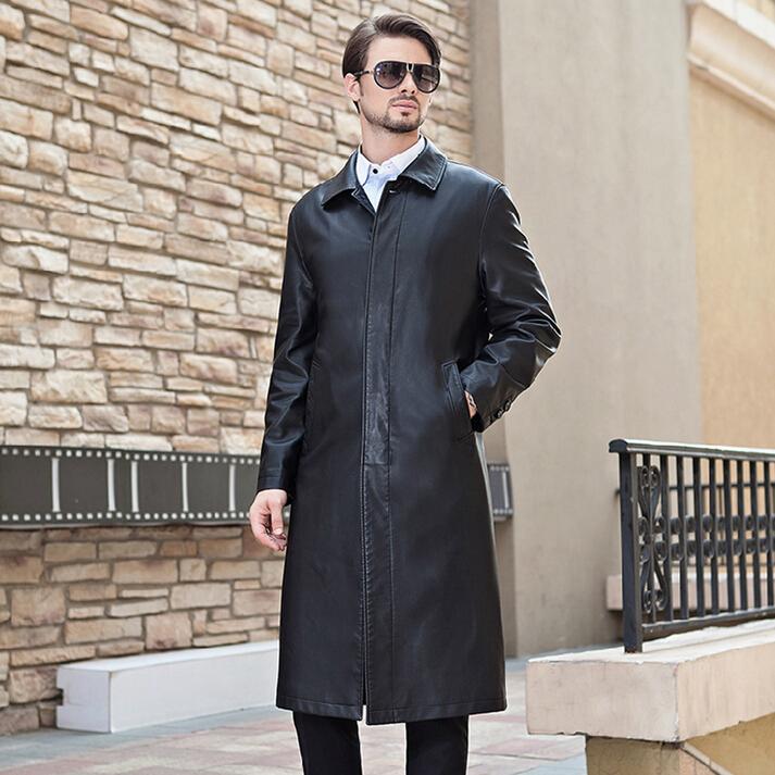 冬装海宁皮衣男加绒皮草长款皮风衣中老年男装男士皮大衣翻领外套
