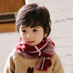 儿童秋冬款男童女童韩版2色格子冬季宝宝儿童韩国针织保暖潮
