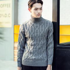 加厚冬装高翻领针织衫毛线衣纯色男士高领毛衣韩版修身套头毛线衣