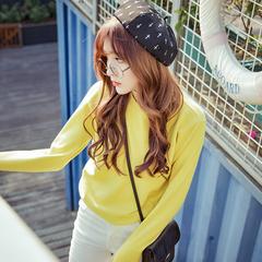 秋冬新款韩版修身女装针织衫女套头学生短款长袖兔绒毛衣打底显瘦