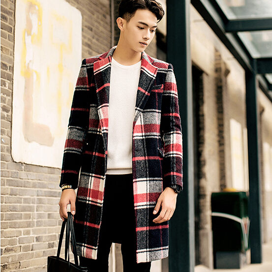 雷尔宾诺男装风衣 修身长款西装领毛呢外套格子男士休闲大衣潮
