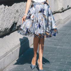 印花蓬蓬半身裙