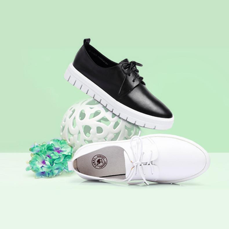 骆驼女鞋 春季新款板鞋女 真皮系带运动休闲单鞋 韩版平底小白鞋