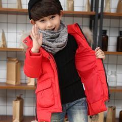 冬装宝宝儿童羽绒服男童中长款女童羽绒服小童大毛领加厚外套