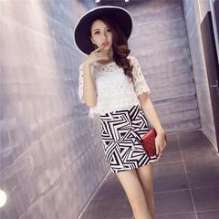白色蕾丝镂空短袖套装裙