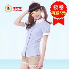 韩版短袖衬衫女夏刺绣高中生学院风白色娃娃领初中学生少女衬衣潮