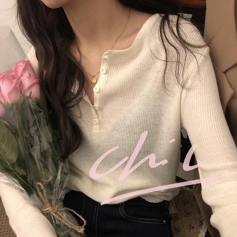 [ELINASEA]小海自制  韩版春装经典五粒扣长袖薄款打底针织衫女X针织衫