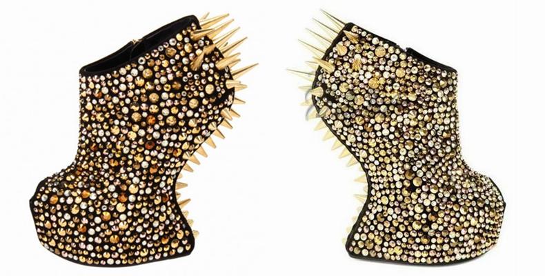 欧洲站新款舒淇明星同款奢华彩钻铆钉鱼嘴女鞋 异形凉靴T台走秀鞋
