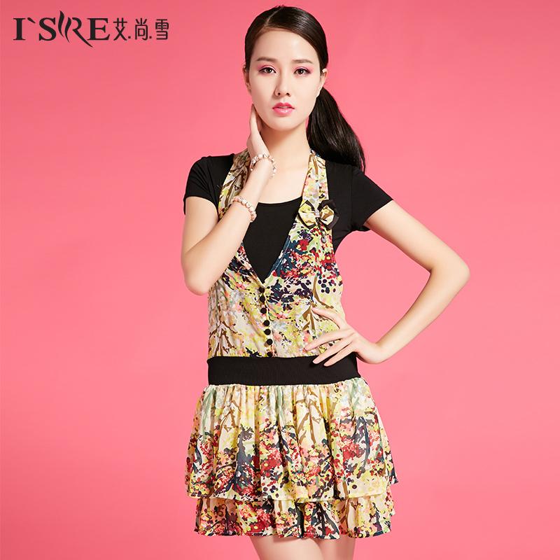 艾尚雪夏季新款时尚休闲女装假两件韩版修身雪纺印花连衣裙00012