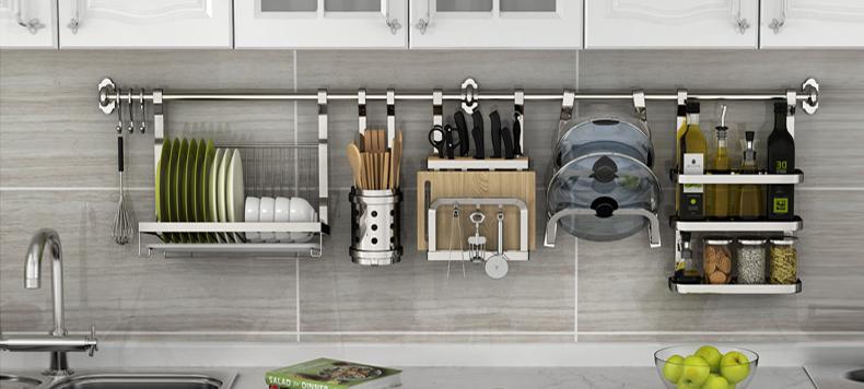 宜家 304不锈钢厨房置物架 壁挂式厨具收纳厨房挂架挂件厨房用品