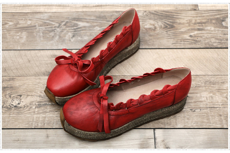 四起哥2016春鞋子新款手工鞋原创真皮单鞋女头层牛皮厚底松糕潮鞋