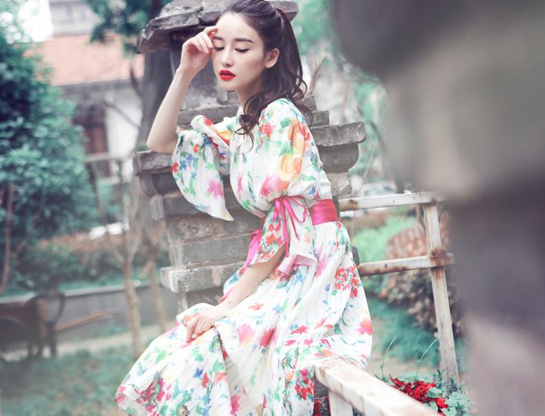 花间裳 原创公主袖撞色绑带印花气质优雅欧根纱连衣裙 复古长裙