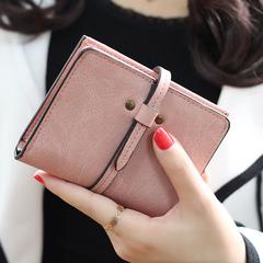 欧美复古纯色超薄小钱夹