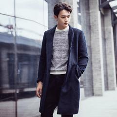 潮韩版修身型国男装男生中长款风衣毛呢妮大衣外套