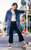 春季必备牛仔外套,宽松的版型,任何妹纸都可以驾驭,下身配一条休闲裤,简约又时尚