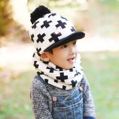 韩国进口 十字架球球加绒儿童护耳帽子围脖套两件套DW017