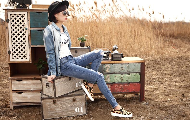 画骨原创牛仔裤女弹力紧身 膝盖多 破洞 小脚裤 修身显瘦铅笔长裤