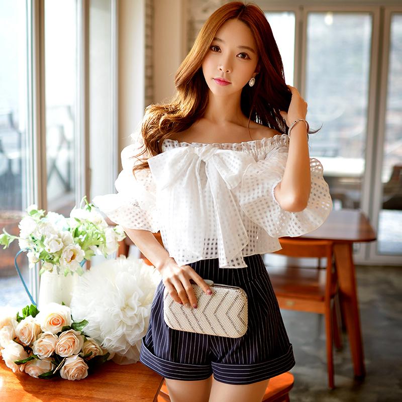 韩版条纹阔腿短裤