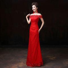 时尚显瘦新款红色敬酒服
