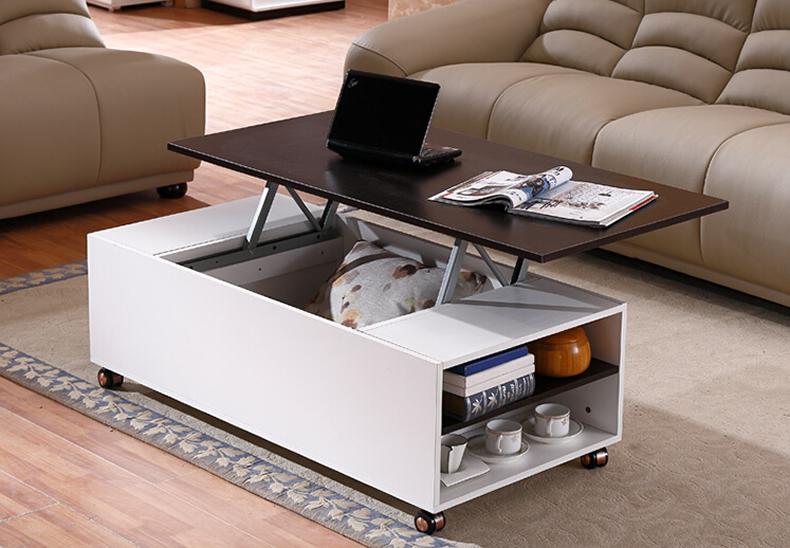 包邮简约可伸缩升降茶几  客厅创意小户型储物带滚轮多功能茶几桌