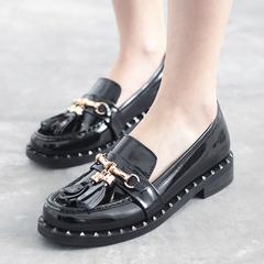 英伦复古流苏单鞋女圆头 2016春季新款低跟乐福鞋漆皮女鞋子