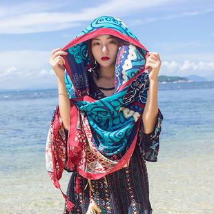 百搭棉麻圍巾 女春夏長款圍巾 海邊沙灘巾防曬紗巾民族風旅游披肩