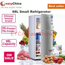 small refrigerator 98L food beverage cooler fridge 2 door