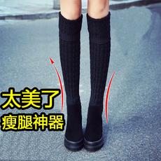 秋冬季坡跟厚底内增高瘦腿显瘦高筒真皮毛线筒弹力靴过膝长靴女
