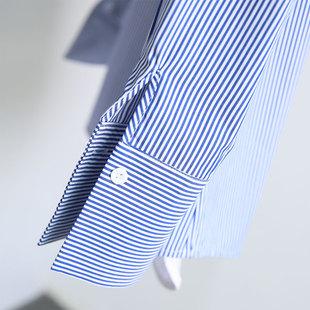 蓝白色条纹衬衫女宽松纯棉小清新衬衣女2018新款春装韩版长袖上衣