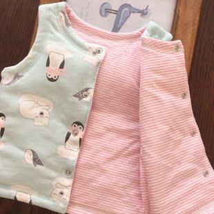 儿童棉麻夹婴儿保暖背心内穿小马甲秋冬男女宝宝时尚衣服轻便上衣