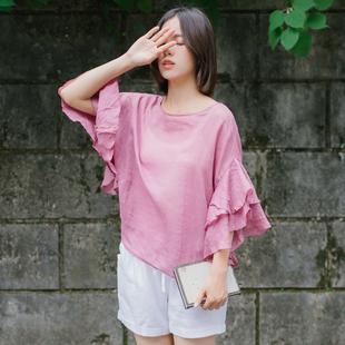 宽松休闲飞飞袖亚麻衬衫女士短袖棉麻料T恤2018夏季新款大码上衣