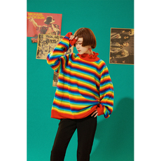 杨二大梦原创2017秋装新款复古彩虹条纹中长款宽松套头针织毛衣女