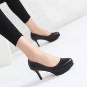 防水台圆头黑色高跟鞋7cm细跟工作鞋5cm正装礼仪职业女鞋银行单鞋
