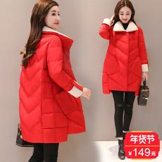 棉服女中长款2017冬装新款女装韩版显瘦茧型羽绒棉服面包服外套冬