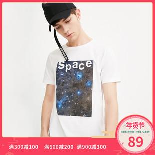 JackJones杰克琼斯男纯棉字母短袖T恤衫C 2181T4529