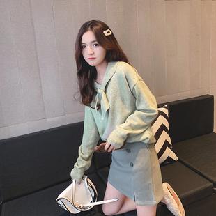 很仙的毛衣女2018新款宽松套头韩版洋气百搭短款超火cec上衣心机