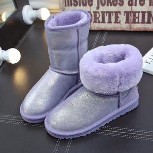 澳大利亚ce雪地靴女中筒5825米白布纹防水女靴子保暖冬季加厚棉鞋