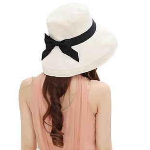 日本新款防UV帽子女夏天可折叠防紫外线布帽棉麻太阳帽防晒渔夫帽
