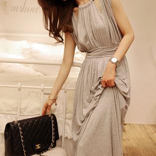 【天天特价】春装新款修身显瘦波西米亚女连衣裙莫代尔长裙沙滩裙