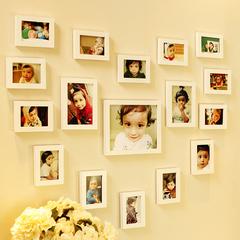 17框心形组合实木照片墙 创意欧式儿童宝宝相片墙客餐厅 送2模板