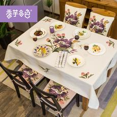 美式乡村花朵刺绣餐桌布布艺防尘盖布圆桌布防烫茶几布台布方桌布