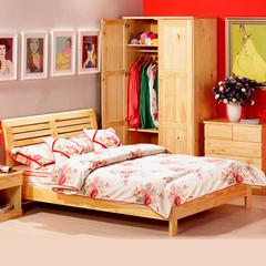 喜梦宝实木家具 松木床1.8米简约现代实木双人床成人床 原木色