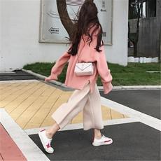 2017新款宽松慵懒开叉针织衫圆领套头毛衣百搭毛呢阔腿裤两件套装