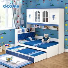 地中海子母拖床非全实木儿童衣柜床衣柜床一体儿童床带衣柜多功能